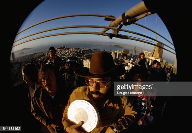 Director Francis Ford Coppola and his film crew stand atop the Fairmont Hotel overlooking San Francisco