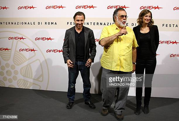 US director Francis Ford Coppola poses with Romanian actress Alexandra Maria Lara and English actor Tim Roth during Youth Without Youth photocall at...