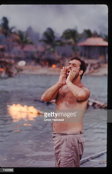 Director Francis Ford Coppola yells an order April 28 1976 during the filming of 'Apocalypse Now' in the Philippines The film is based on the novel...