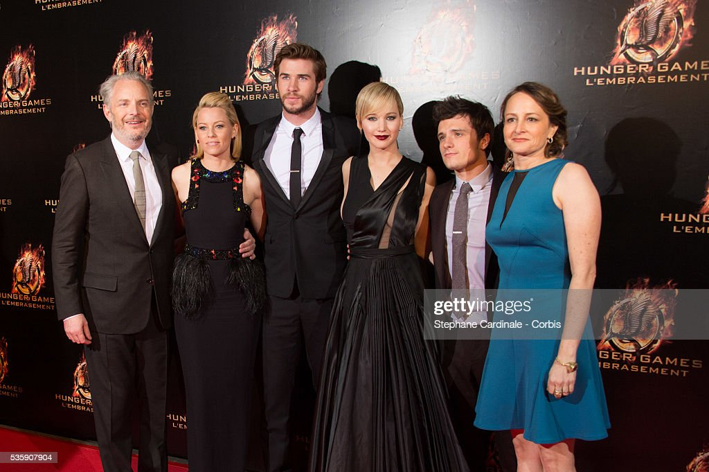 Director Francis Lawrence, actors Elizabeth Banks, Liam Hemsworth, Jennifer Lawrence, Josh Hutcherson and producer Nina Jacobson attend 'The Hunger Games: Catching Fire' Paris Premiere at Le Grand Rex, in Paris.