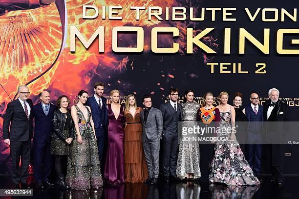 Director Francis Lawrence, US producer Jon Kilik, US producer Nina Jacobson, US actress Jena Malone, Australian actor Liam Hemsworth, US actress...