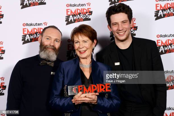Director Francis Lee presenter Celia Imrie and Josh O'Connor pose with the award for Best British Film in the winners room at the Rakuten TV EMPIRE...
