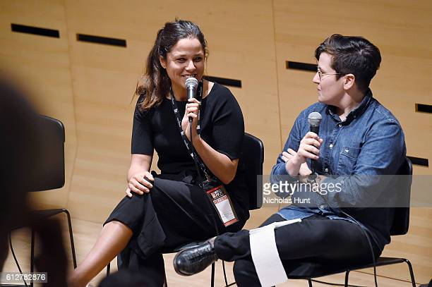 Director Francisca Alegria and Moderator Jude Dry Speak at the 54th New York Film Festival NYFF Live Short Film Panel at Film Center Amphitheater in...