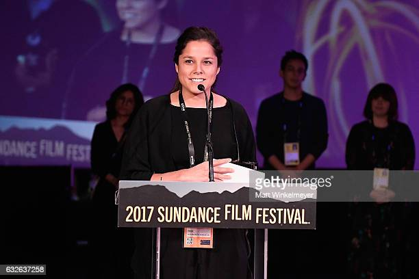 Director Francisca Alegria speaks onstage at the Shorts Program Awards and Party presented by YouTube on day 6 of the 2017 Sundance Film Festival at...