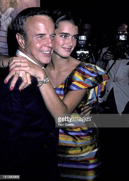 Director Franco Zeffirelli and actress Brooke Shields attend the 'Endless Love' Premiere Party on July 16 1981 at Hisae Restaurant in New York City