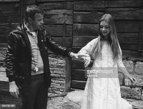 Director Franco Zeffirelli rehearsing with actress Judi Bowker in her screen debut 'Brother Sun Sister Moon' 1972