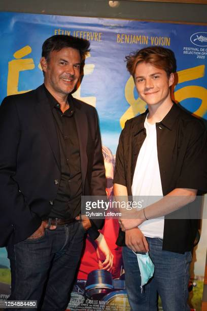 Director Francois Ozon and actor Félix Lefebvre pose before the premiere of their film Ete 85 on July 07 2020 in Lille France