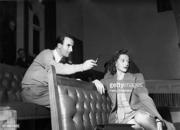 Director Frank Launder and actress Deborah Kerr watch a scene being filmed for 'I Spy A Stranger' later titled 'I See a Dark Stranger' or 'The...