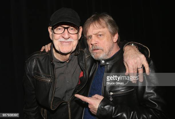 Director Frank Oz and Mark Hamill pose backstage at the hit illusion play 'In Of Itself' at The Daryl Roth Theatre on March 25 2018 in New York City