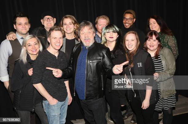 Director Frank Oz Writer/Performer Derek GelGaudio and Mark Hamill pose with the staff backstage at the hit illusion play 'In Of Itself' at The Daryl...