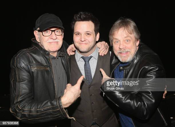 Director Frank Oz Writer/Performer Derek GelGaudio and Mark Hamill pose backstage at the hit illusion play 'In Of Itself' at The Daryl Roth Theatre...
