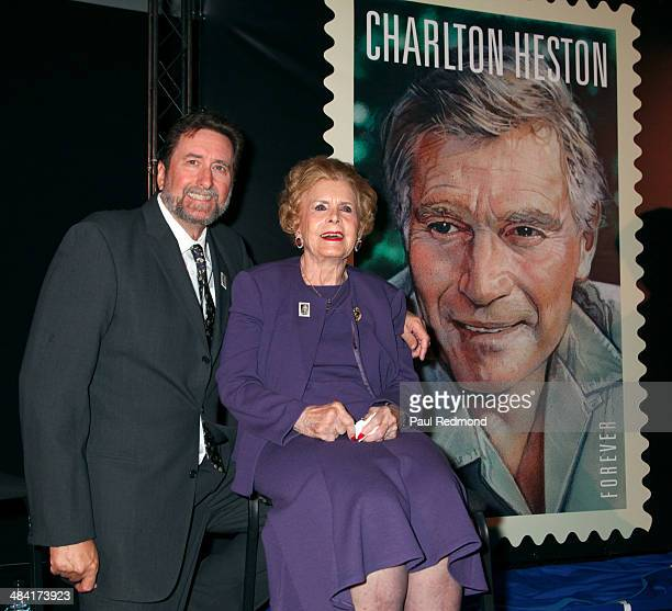 Director Fraser Clarke Heston and his mother Lydia Clarke wife of Charlton Heston attend the Dedication Ceremony For Charlton Heston Forever Stamp at...