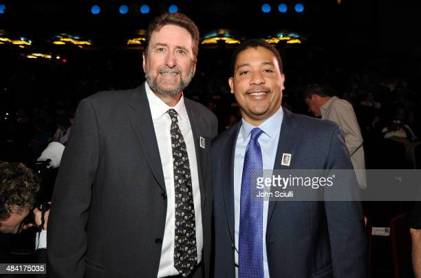 Director Fraser Heston and SAG-AFTRA Executive Director David White attends the postage stamp ceremony during the 2014 TCM Classic Film Festival at...