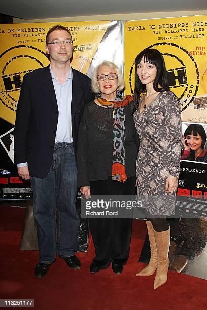 Director Frederic Sojcher actresses Micheline Presle and Maria De Meideros attend the 'Hitler A Hollywood' Paris Premiere at UGC Cine Cite des Halles...