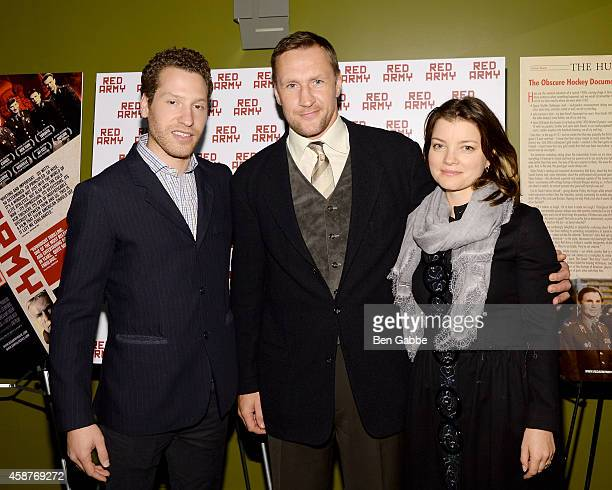 Director Gabe Polsky retired pro hockey player Alexei Kovalev and Eugenia Kovalev attend the 'Red Army' New York Screening at Sunshine Landmark on...