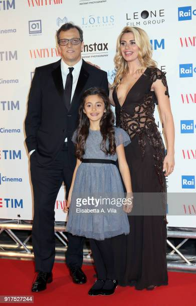 Director Gabriele Muccino wife Angelica and daughter Penelope attend 'A Casa Tutti Bene' premiere on February 12 2018 in Rome Italy