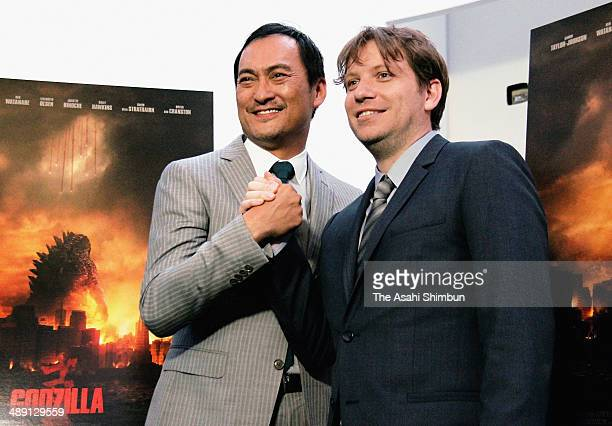 Director Gareth Edwards and actor Ken Watanabe attend the premiere of Warner Bros Pictures and Legendary Pictures' Godzilla at Dolby Theatre on May 8...