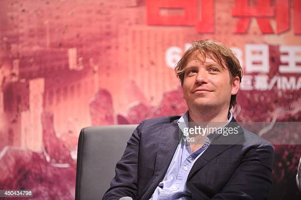 Director Gareth Edwards attends Godzilla press conference at Beijing Film Academy on June 11 2014 in Beijing China