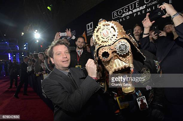 Director Gareth Edwards signs Christopher Dude Vader Canole's helmet at The World Premiere of Lucasfilm's highly anticipated firstever standalone...