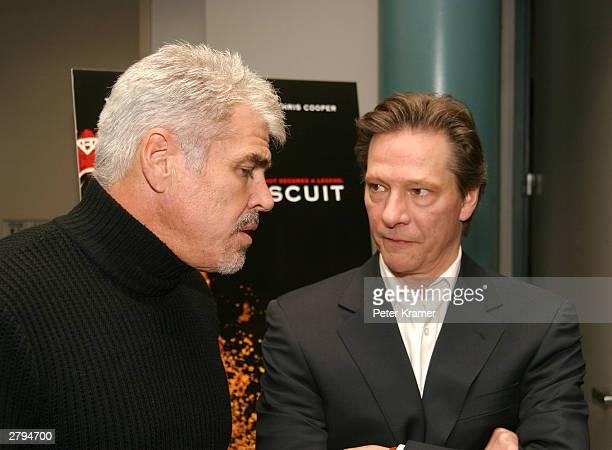 Director Gary Ross and actor Chris Cooper at An Evening With Jeff Bridges photographs from The Last Picture Show to Seabiscuit December 8 2003 in New...
