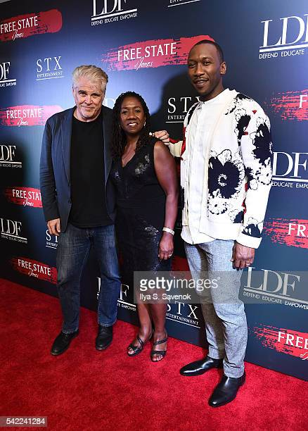 Director Gary Ross NCCA President Sherrilyn Hill and Mahershala Ali attend the Free State Of Jones New York Premiere at Paris Theater on June 22 2016...