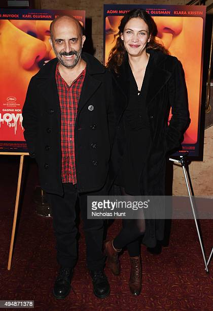Director Gaspar Noe and actress Aomi Muyock attend the 'Love' New York City Premiere at Village East Cinema on October 29 2015 in New York City