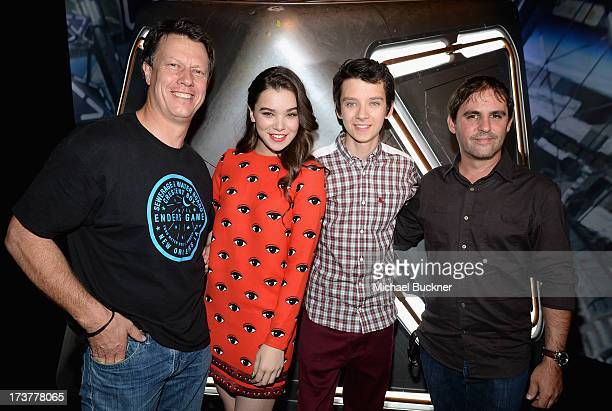 Director Gavin Hood actors Hailee Steinfeld Asa Butterfield and producer Bob Orci attend Ender's Game Experience Press Preview Night Sponsored by...