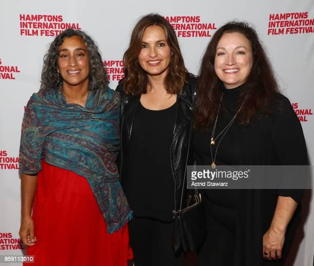 Director Geeta Gandbhir Producer Mariska Hargitay Director Trish Adlesic attend the red carpet for I Am Evidence during Hamptons International Film...