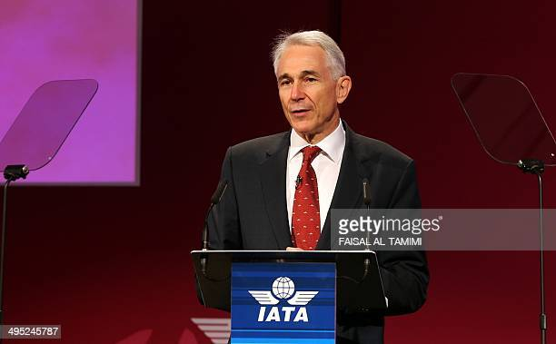 Director General and CEO of International Air Transport Association Tony Tyler speaks during IATA's 70th Annual General Meeting in Doha Qatar on June...