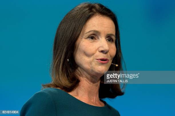 CBI Director General Carolyn Fairbairn addresses delegates at the annual Confederation of British Industry conference in central London on November...