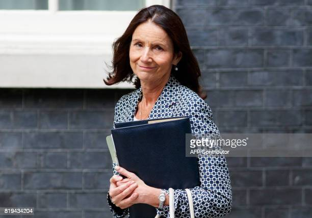 CBI Director General Carolyn Fairbairn arrives in Downing Street to attend a business summit with Britain's Prime Minister in central London on July...