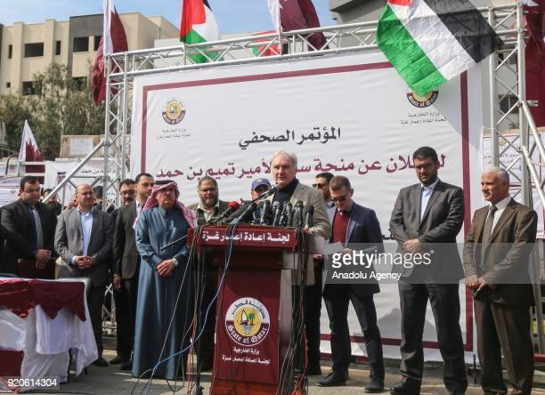 Director General in the Gaza Strip Matthias Shamali speaks to press as the 9 Million Dollar worth immediate aid sent by the order of Emir of Qatar...