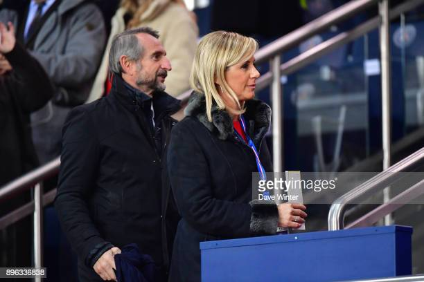 PSG director general JeanClaude Blanc and his wife Stephanie during the Ligue 1 match between Paris Saint Germain and SM Caen at Parc des Princes on...