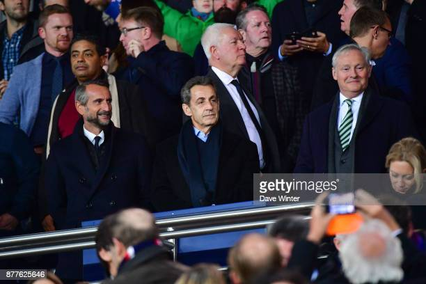 PSG director general JeanClaude Blanc former French president Nicolas Sarkozy and Celtic chairman Ian Bankier during the UEFA Champions League match...