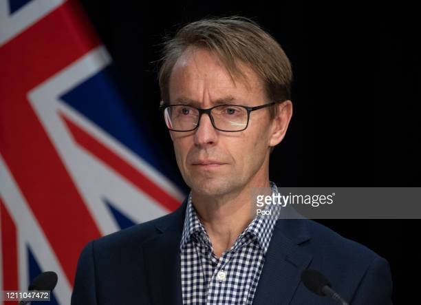 Director General of Health Dr Ashley Bloomfield attends a briefing on the coronavirus pandemic at Parliament on April 27 2020 in Wellington New...