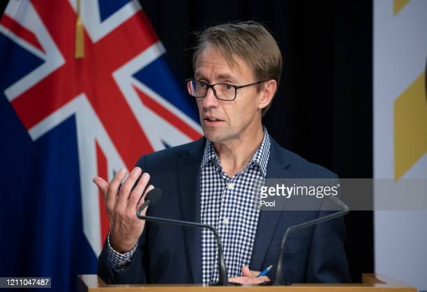 Director General of Health Dr Ashley Bloomfield speaks at a briefing on the coronavirus pandemic at Parliament on April 27 2020 in Wellington New...