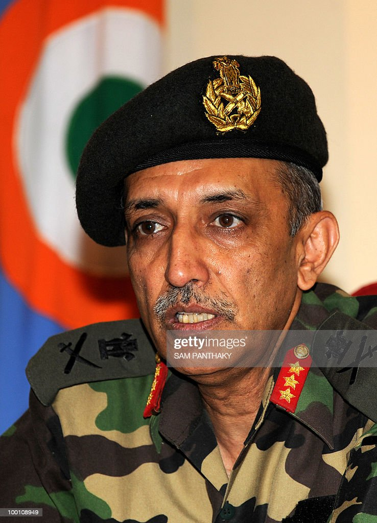 Director General of India's National Cadet Corps (NCC) Lieutenant General R.K. Karwal addresses media representatives at NCC Directorate (Gujarat), Cantonment in Ahmedabad on May 21, 2010. Karwal was in the western Indian city to oversee NCC activities being conducted in Gujarat. AFP PHOTO/Sam PANTHAKY