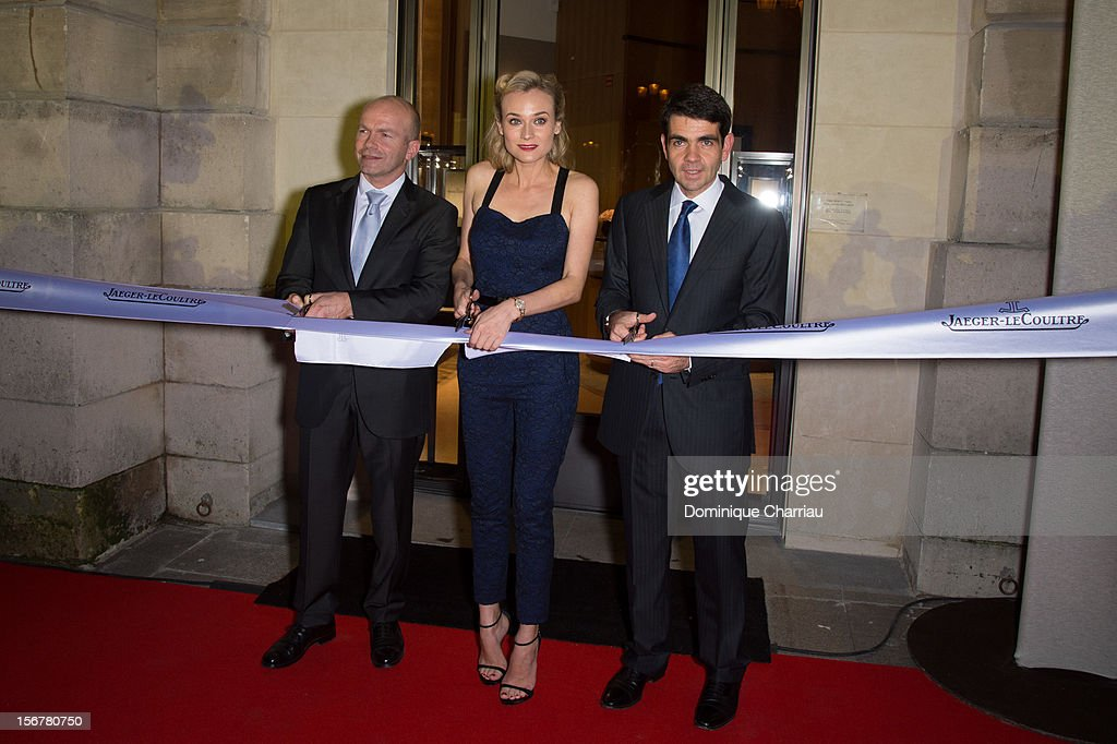 Director General of Jaeger-LeCoultre France Guillain Maspetiol (L) Diane Kruger (C) and CEO Jaeger-LeCoultre Jerome Lambert (R) cutting the ribbon to inaugurate the Jaeger-LeCoultre Place Vendome Boutique at Jaeger-LeCoultre Boutique on November 20, 2012 in Paris,
