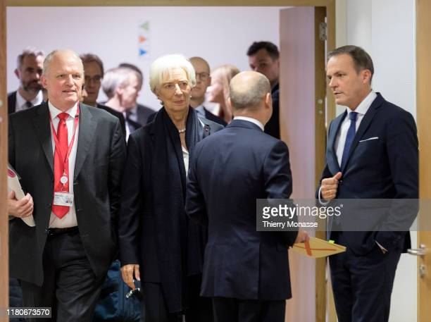 Director general of the Economic Affairs and Competitiveness Carsten Pillath is seen talking with the President of the European Central Bank...