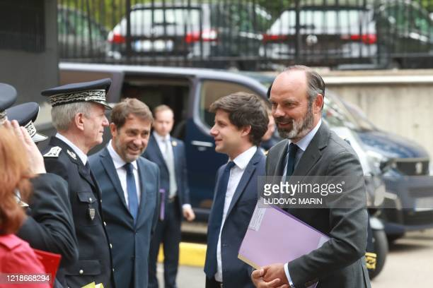 Director General of the French National Police Frederic Veaux welcomes French Interior Minister Christophe Castaner, French Junior Minister for...