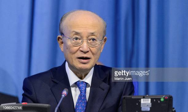 Director General of the International Atomic Energy Agency Mr Yukiya Amano holds his opening statement at the Ministerial Conference on Nuclear...