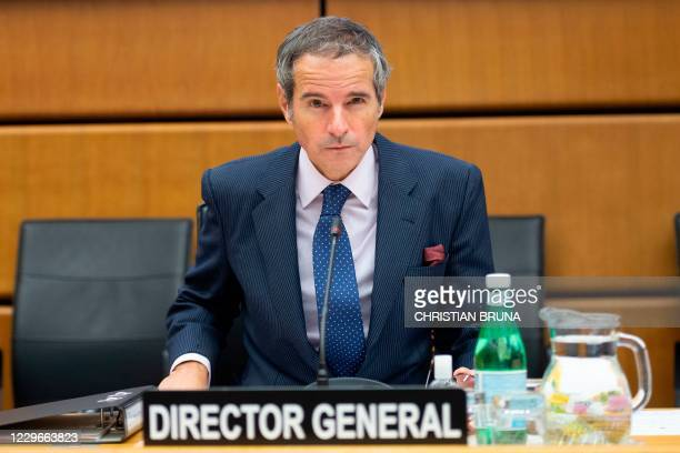 Director General of the International Atomic Energy Agency Rafael Mariano Grossi is pictured prior to a virtual IAEA Board of Governors' meeting at...