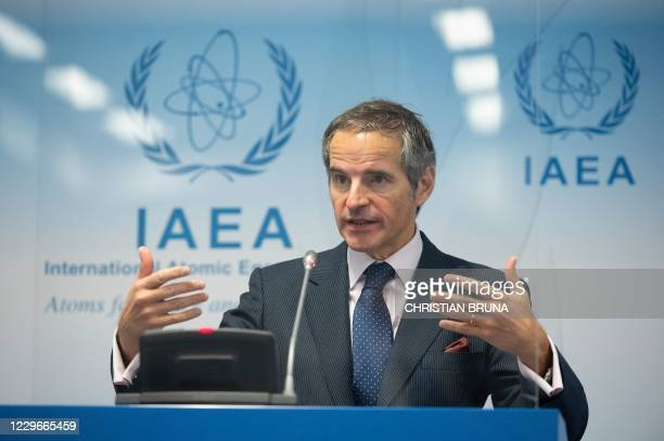 Director General of the International Atomic Energy Agency Rafael Mariano Grossi speaks at a press conference during an IAEA Board of Governors'...