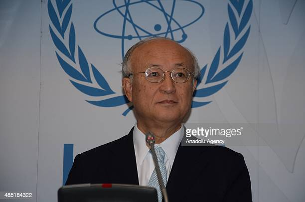 Director General of the International Atomic Energy Agency , Yukiya Amano delivers a speech during a press conference after the IAEA Board meeting...