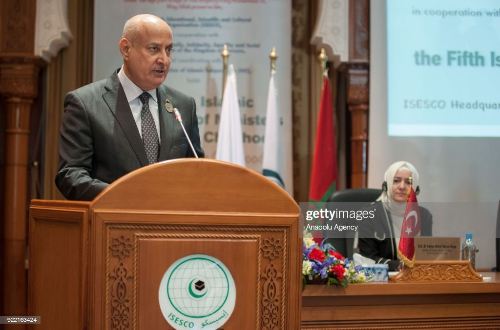 Director General of the Islamic Educational, Scientific and Cultural Organization (ISESCO) Abdulaziz Othman Altwaijri makes a speech during 5th Islamic Conference of Ministers in charge of Childhood at Islamic Educational, Scientific and Cultural Organization headquarters in Rabat, Morocco on February 21, 2018.