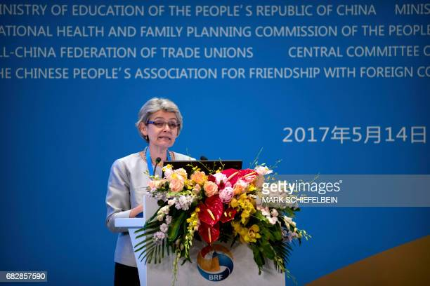 Director General of the United Nations Educational Scientific and Cultural Organisation Irina Bokova speaks during a session on peopletopeople...