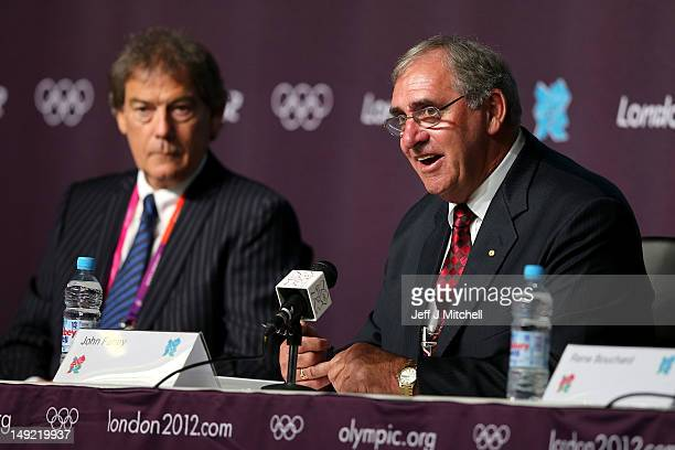 Director General of the World AntiDoping Agency David Howman watches on as President of WADA John Fahey speaks during a World Anti Doping Agency...
