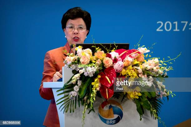 Director General of the World Health Organization Margaret Chan speaks during a session on peopletopeople connectivity of the Belt and Road Forum at...