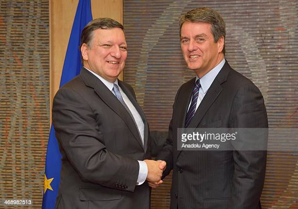 Director General of the World Trade Organization Roberto Azevedo and President of the European Commission Jose Manuel Barroso meet on February 12...