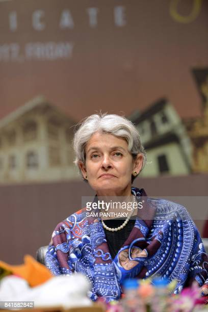 Director General of UNESCO Irina Bokova looks on during an event to hand over the certificate of 'Historic City of Ahmedabad' to Gujarat state Chief...